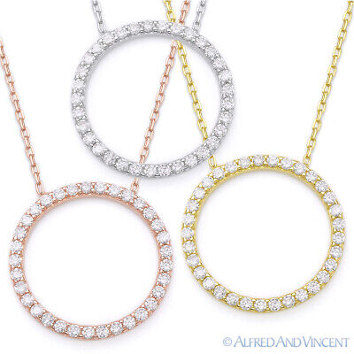 Love Circle Necklace (Eternity Circle Love Forever Pendant 925 Sterling Silver Cubic Zirconia)