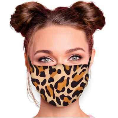 Stoffmaske Leo Leopard Muster Mundschutz Maske Mund Nasen Schutz waschbar