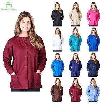 Womens Nursing Warm Up Medical Scrub Jacket 3-Pocket Snap Front XS-5XL - G102 - Nursing Scrub Nurse Uniform Jacket