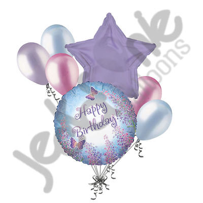 7 pc Prismatic Butterfly Happy Birthday Balloon Bouquet Lilac Light Blue Pink