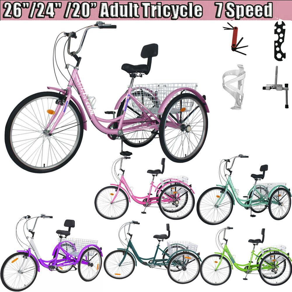 "26/24"" 7Speed Adult Tricycle 3-Wheel Trike Cruiser Bicycle w"