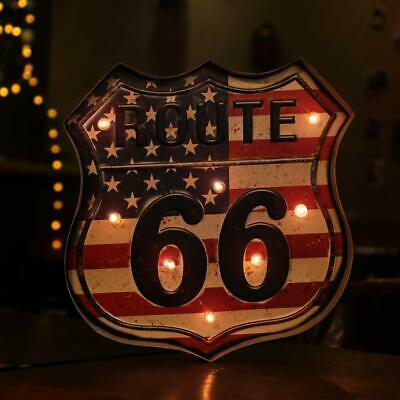 US Route 66 Personality Vintage Sign Bar Pub Shop Wall Decor Art LED Light Metal
