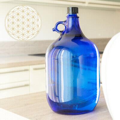 Globo de Cristal Botella 5 Litros Azul Flor de la Vida -...