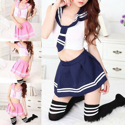 Japanese School Girl Dress Outfit Sailor Uniform Cute Anime Cosplay Costume ()
