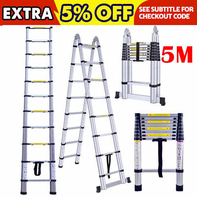 16.5ft5m Aluminum Telescopic Extension Ladder Multi-purpose Scaffold Heavy Duty