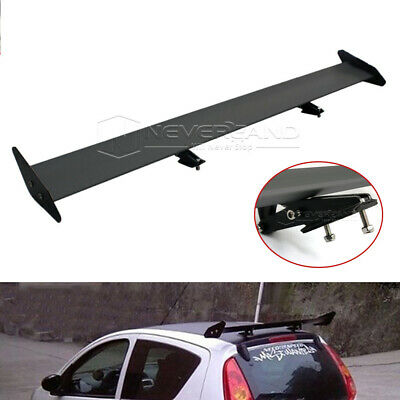 "Universal 125cm/49.2"" Aluminum Adjustable GT-Style Rear Trunk Spoiler Wing Black"