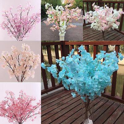 (Home Decor Peach Blossom Cherry Plum Branch Silk Flowers Wedding Bouquet Popular)
