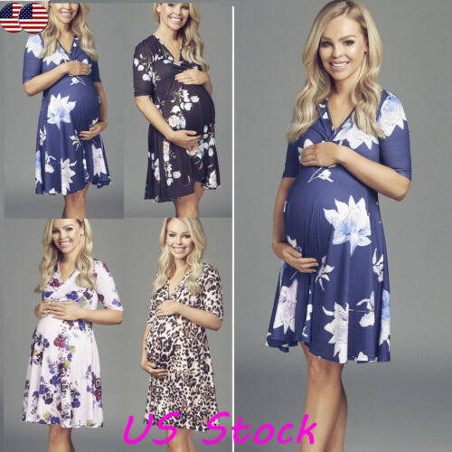 Womens Mother Floral Pregnancy Maternity Short Dress Breastf