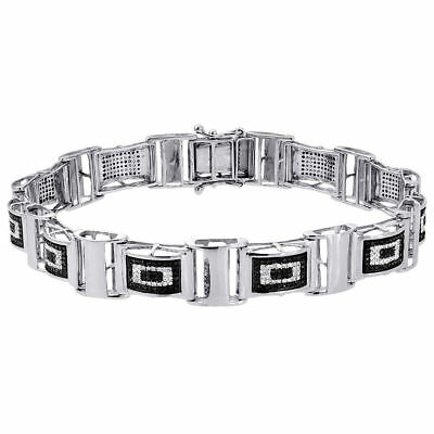 Black Diamond Statement Bracelet White Gold 8.5
