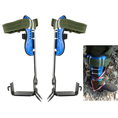 Pair Of Tree Climbing Spike Set With Safety Belt Strap Rope Climbing Tools New