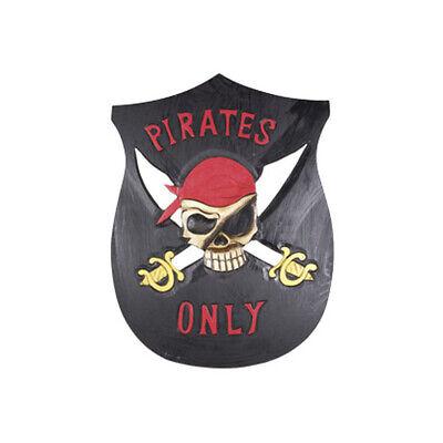 Premium Pirat Holz Schild Echtholz 3D geschnitzt Piratenschild Holzschild Kinder