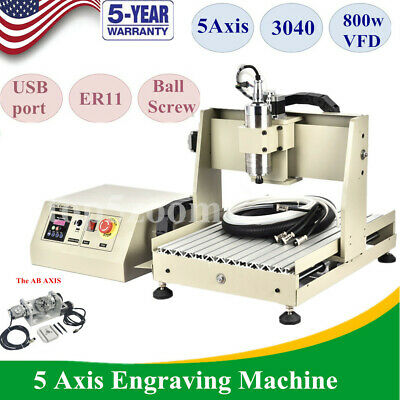 Usb 5 Axis 800w 3040t Cnc Router Engraver Machine Ballscrew Wood Cutting Milling