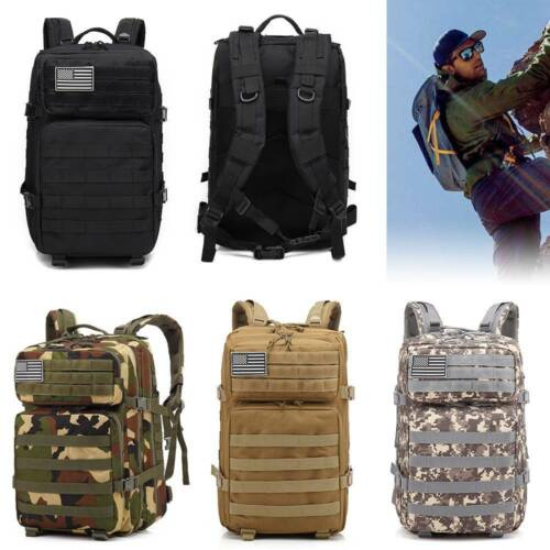 f64ed9ef56f4 45L Waterproof Tactical Military Army Backpack Rucksack Camping Hiking Day  Pack
