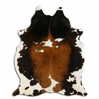 Alfombra de piel de vaca real Tricolor, tamaño 6 por 7 pies,...