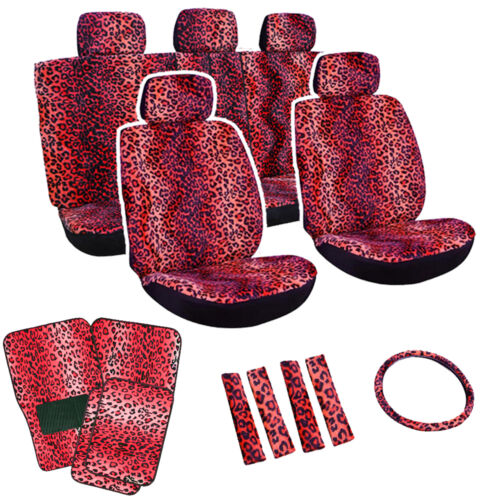 Red Leopard Print Seat Covers Full Set Floor Mats Car SUV