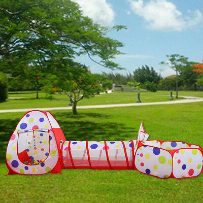 3 in 1 Play Tent House Tunnel Baby Kids Ball Pit Pool Indoor Outdoor - Tent House Tunnel