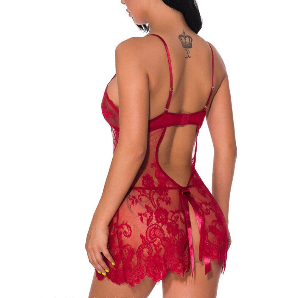 Sexy Lingerie Babydoll Lace Dress Women Eyelash Open Back Sleepwear G-string US Clothing, Shoes & Accessories