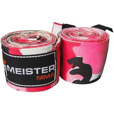 """MEISTER PINK CAMO 180"""" SEMI-ELASTIC HAND WRAPS - MMA Mexican Boxing Gloves Women"""