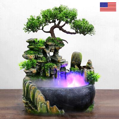 LED Atomizing Tabletop Rockery Fountain Waterfall Humidifier Home Office Decor
