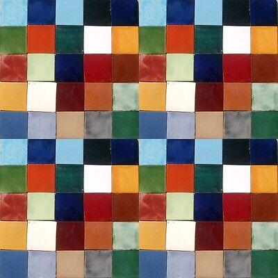 100 MEXICAN PLAIN COLOR TILES 4x4 HANDMADE WALL FLOOR USE POTTERY #004