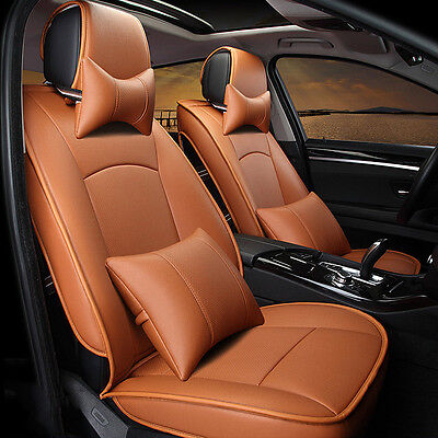 US Brown Car PU Leather Seat Covers For Ford F-150 2010-2016 Front+Rear Full Set