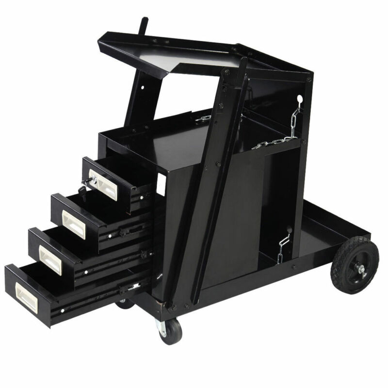 Portable Welding Welder Cart Cabinet w/4 Drawer Steel Welding Welding Work Cart