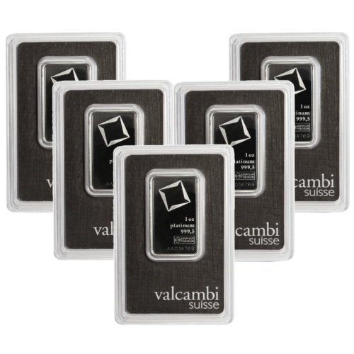 Lot of 5 - 1 Troy oz Valcambi Suisse .9995 Fine Platinum Bar Sealed In Assay
