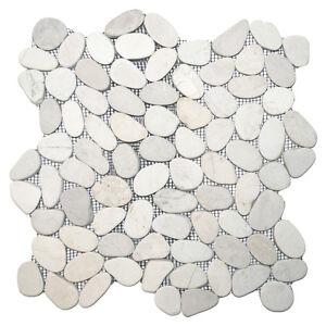 Sliced White Pebble Tile 12 X 12 River Rock Stone Tile