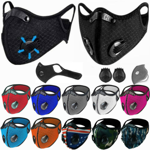Face Mask Cover Breathing Valves Reusable Cycling Outdoor W/active Carbon Filter