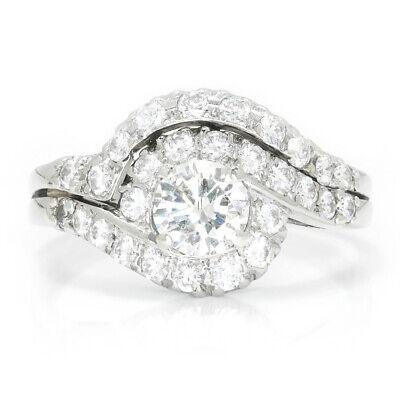 Vintage Round Diamond Swirl Engagement Ring Set 14K White Gold 1.75ctw