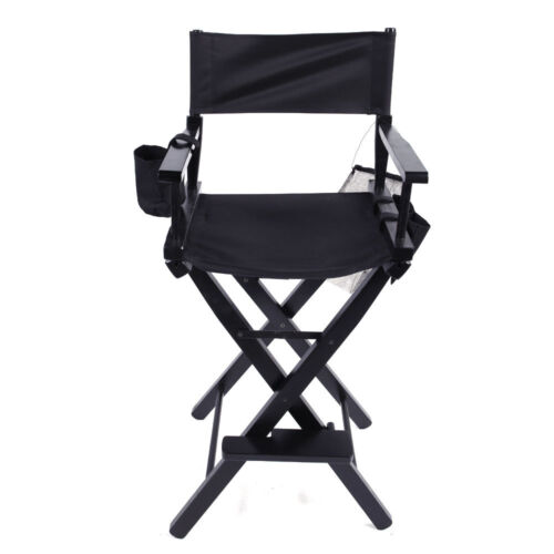 New Directors Chair 30 Inch Canvas Tall Seat Black Wood Fold