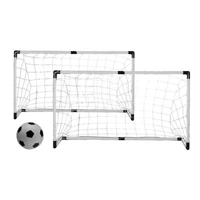 NEW! SET OF 2 SOCCER/HOCKEY GOALS WITH NETS, STAKES, BALL AND PUMP - TWIN GOAL