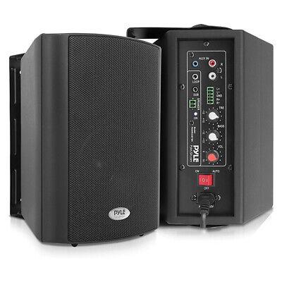 Pyle PDWR53BTBK Bluetooth Indoor Outdoor 5.25 In Speaker System, Black (2 Pack)