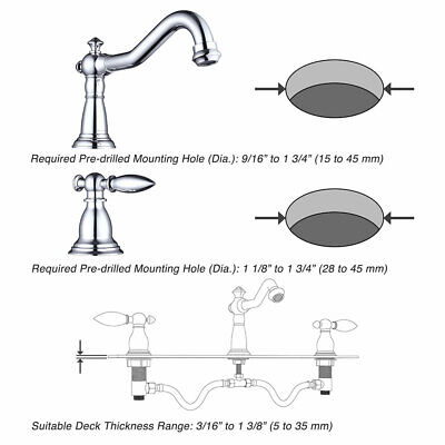 """3 Hole 8"""" Widespread Bathroom Basin Faucet Sink Mixer Tap 2 Handles Polished 5"""