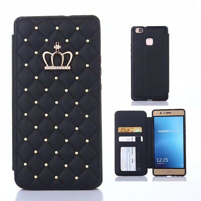 Photo Bling - Black Girly Bling Crown Wallet Photo frame Slim Flip Leather soft Case for phone