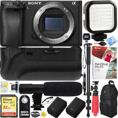 Sony a6500 4K Mirrorless Camera Body Battery Grip & Mic Pro