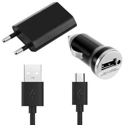 Kit Cargador de Red Coche y Cable Micro USB Negro para Samsung...