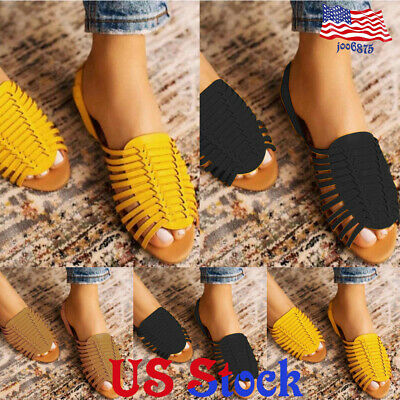 Women's Fish-mouth Hollow Out Flat Sandals Ankle Strap Casual Shoes Summer -