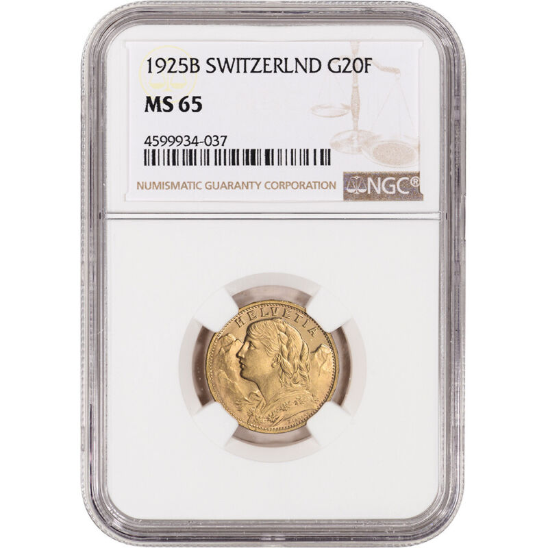 1925 B Switzerland Gold 20 Francs - NGC MS65
