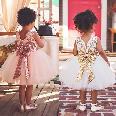 Princess Christmas Dresses (Flower Girl Princess Dress Baby Kid Bow Party XMAS Wedding Bridesmaid Tutu)