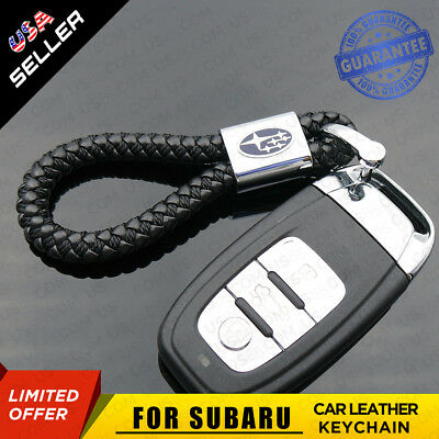 Black Calf Leather Alloy For Subaru Keychain Gift Decoration Accessories