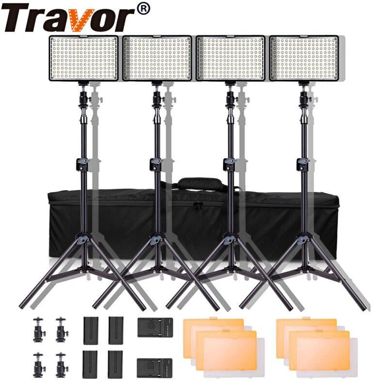 Travor 4 in 1 LED Video Panel Lights Studio Camera Photography Lighting + Stands