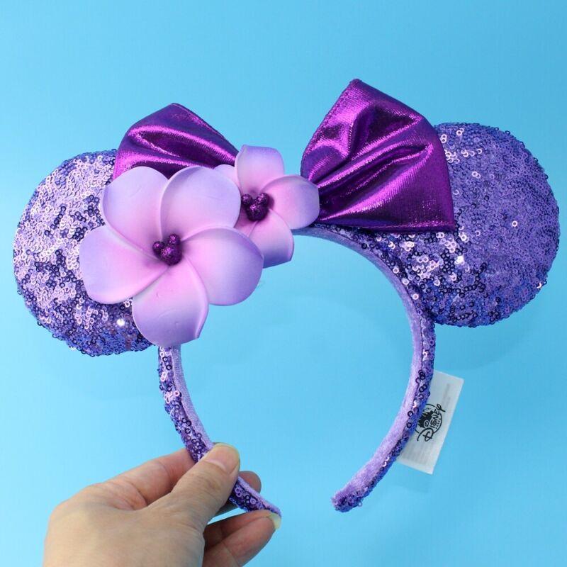 NEW Aulani Hawaii Disneyland Purple Plumeria Disney Parks Minnie Ears Headband