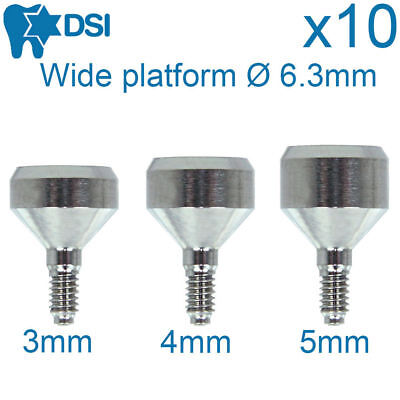 10x Dental Implant Wide Healing Caps Abutment 6.3mm Diameter Sizes 3-7 Mm