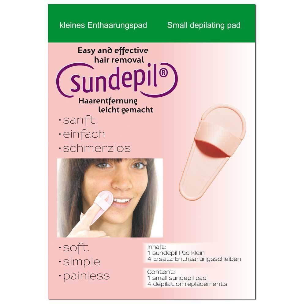 Sundepil - kleines Enthaarungspad für Damenbart etc. / mit insg. 5 Scheiben