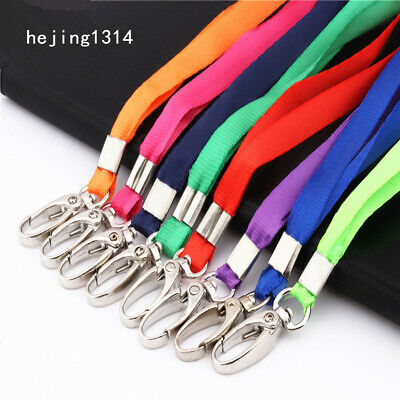 Color Ribbon Neck Strap Hanging rope Key Ring Badge Holder ID Card Chain Clips