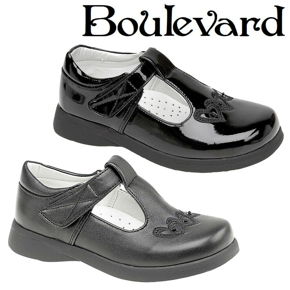 New GirlsTouch Fastening light up leather Back To School Black Shoes Size 13UK
