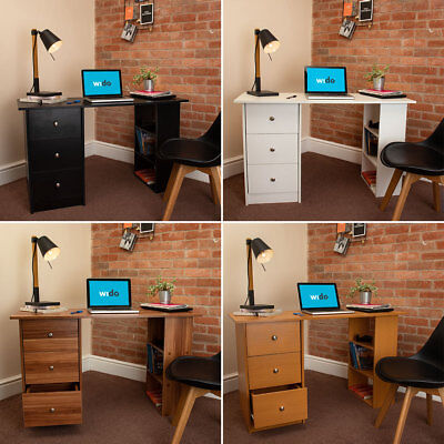 4 COLOURS - BASIC COMPUTER DESK OFFICE STUDY 3 DRAWERS PC DRESSING TABLE Wido