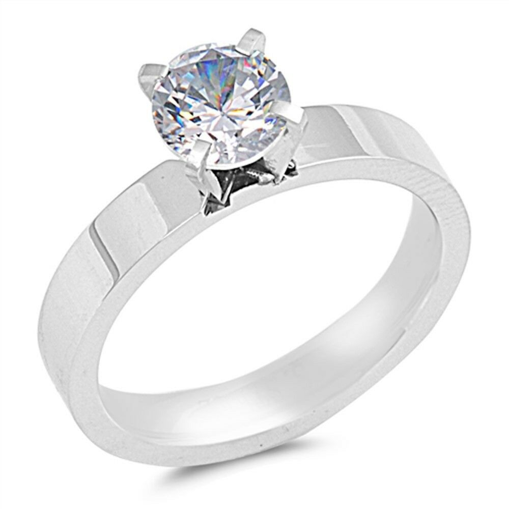 Stainless Steel CZ Engagement Ring  .925 Sterling Silver Fla