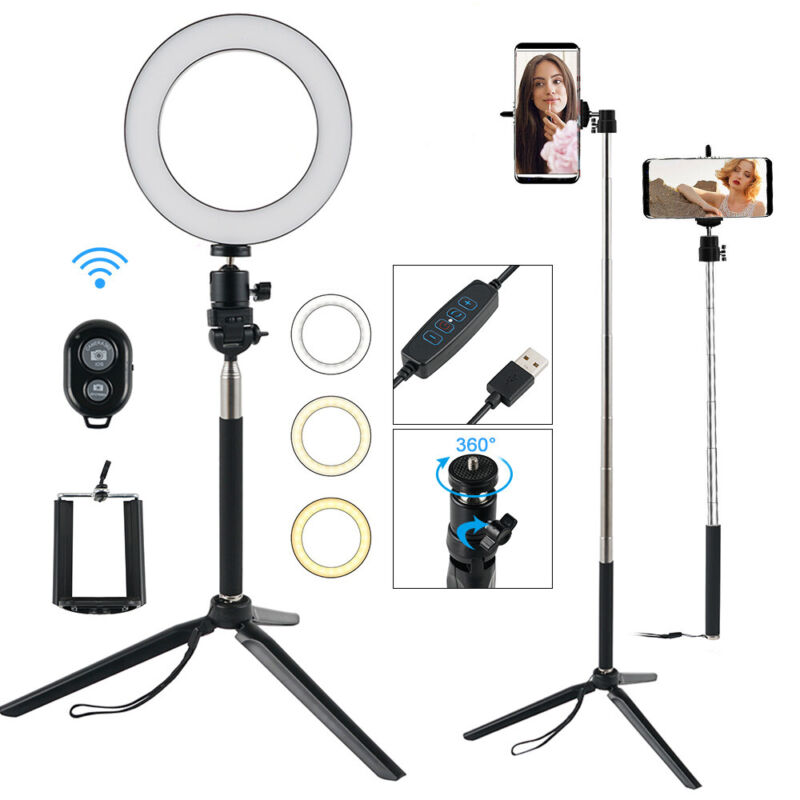 """Dimmable 8"""" LED Ring Light Kit With Stand Makeup Selfie Lighting Youtube Live"""